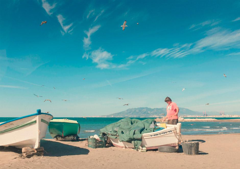 Playa en El Palo, Málaga.