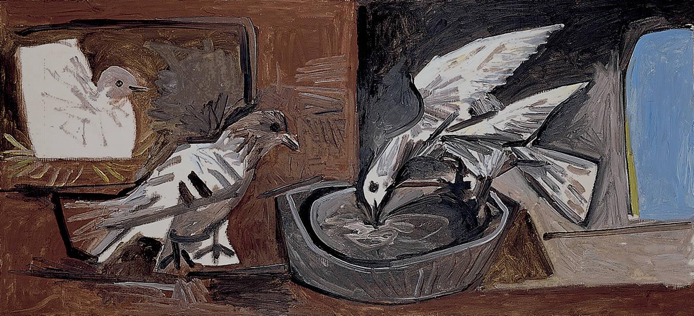 Una de las obras expuestas en el museo Picasso de Málaga, junto a Palacio Solecio.